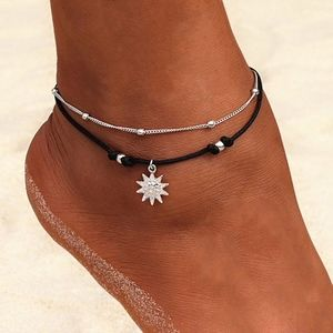 Jewelry - Layered Silver Sunburst Star Black Rope Anklet